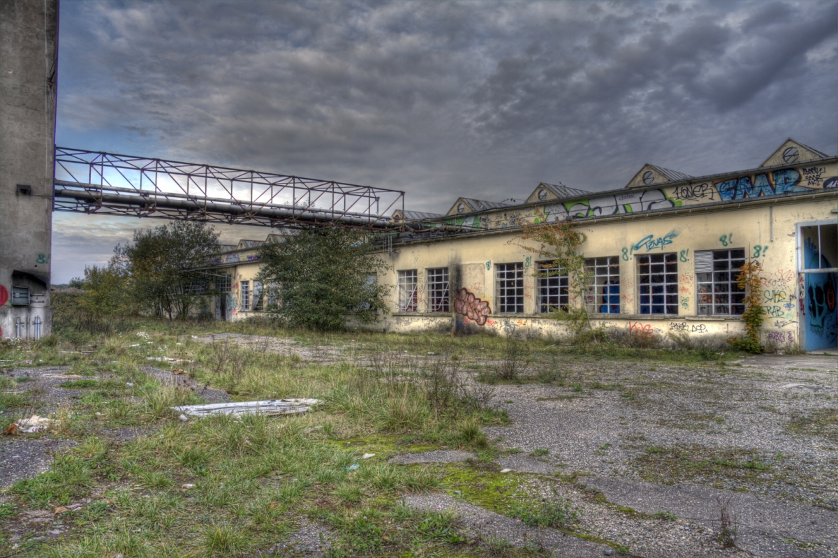 gateway in an abandoned textile company